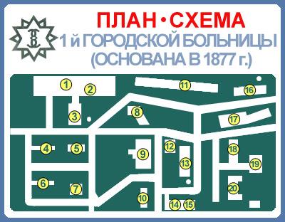 План - схема 1-й городской больницы.